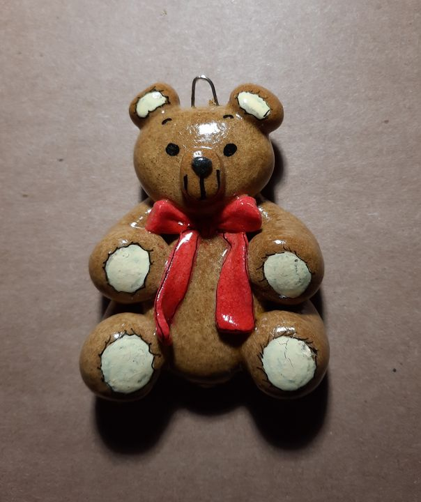 Handmade Teddy Bear Dough Ornament - Panoramic Palette