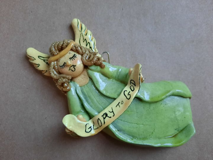 Angel in Blue Christmas Ornament - Panoramic Palette