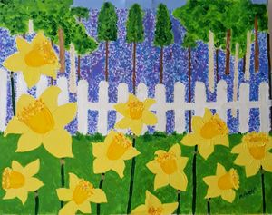 Daffodils and bluebell forest