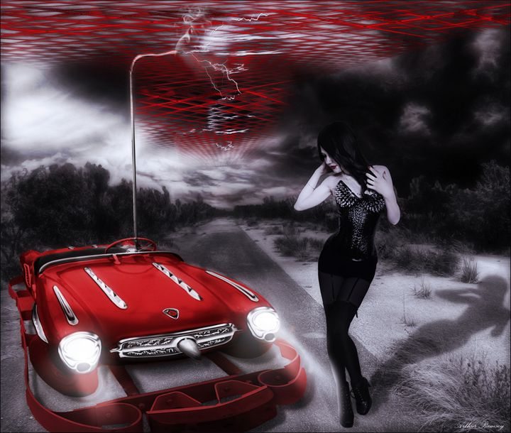 Hybrid Car Trouble - Art by Arthur Ramsey