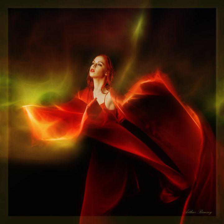 Red Aurora Borealis - Art by Arthur Ramsey