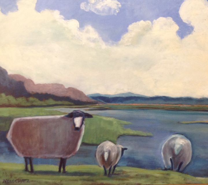 Sheep at Water's Edge - Genia Neuschatz