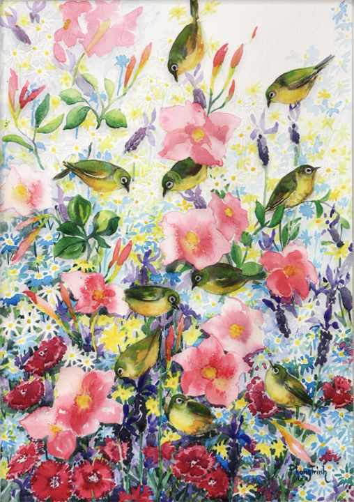 Garden with Birds - Phong Trinh Watercolor