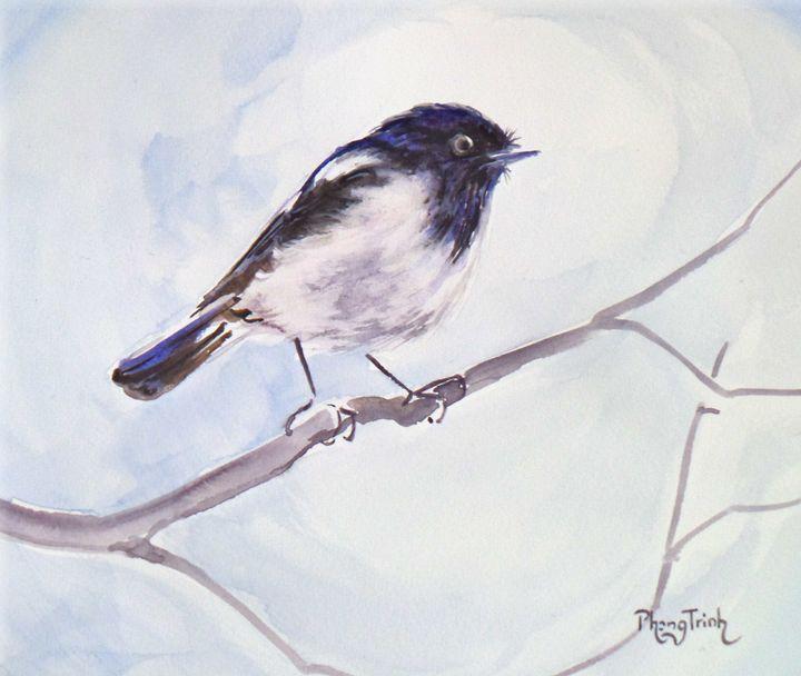 HOODED ROBIN - Phong Trinh Watercolor