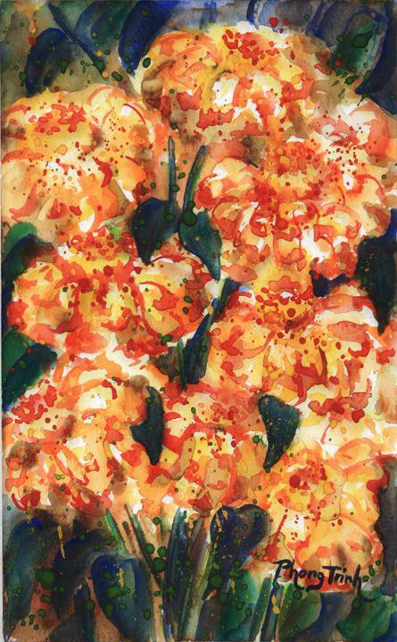 ZINNIA SONATA (1) - Phong Trinh Watercolor