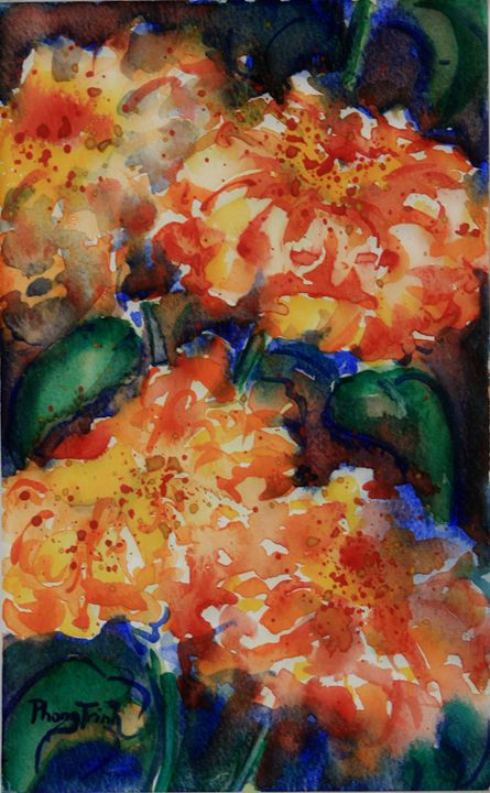 ZINNIA SONATA (2) - Phong Trinh Watercolor
