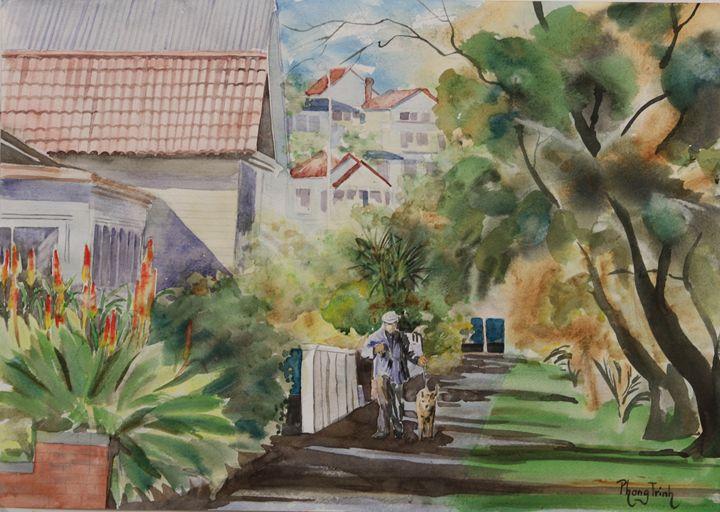 WALKING THE DOG - Phong Trinh Watercolor