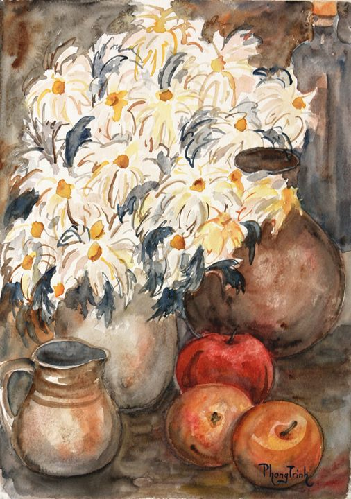STILL LIFE WITH WHITE DAISIES - Phong Trinh Watercolor