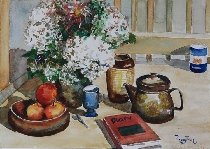 STILL LIFE WITH HYDRANGEA - Phong Trinh Watercolor