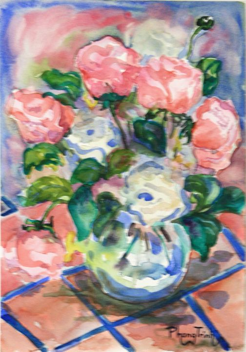 BOWL OF RANUNCULUS - Phong Trinh Watercolor