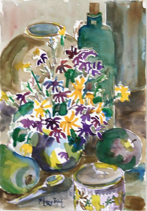 STILL LIFE WITH DAISIES - Phong Trinh Watercolor