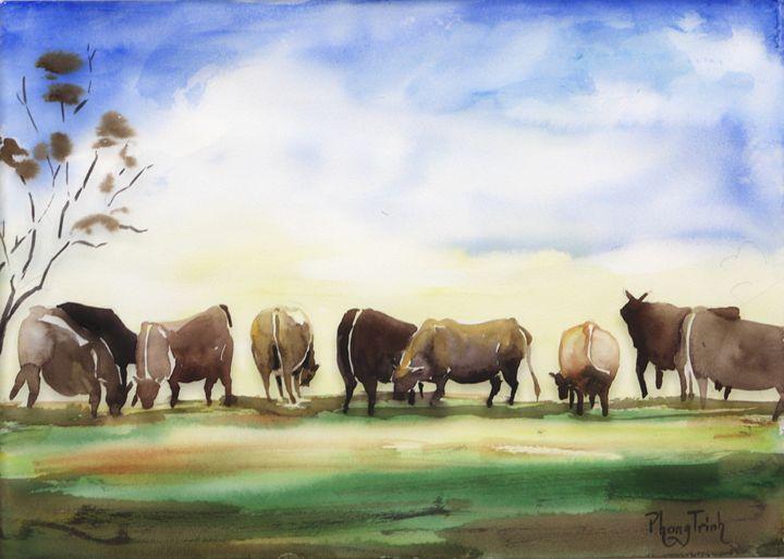 Cows and Pasture - Phong Trinh Watercolor