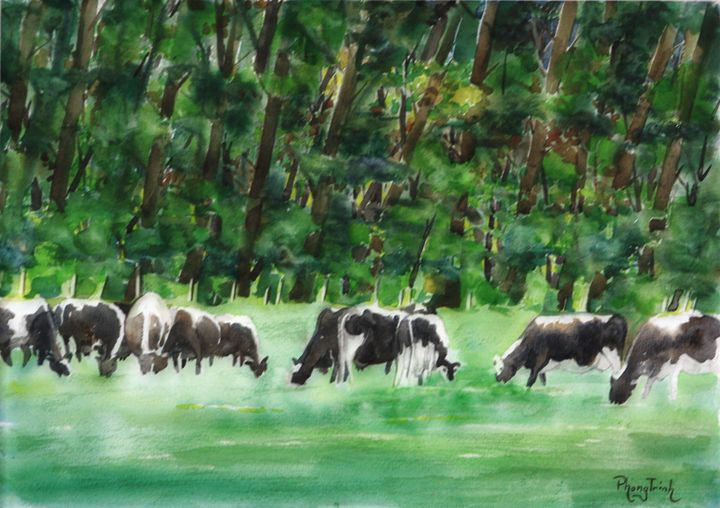 Cows in the Field - Phong Trinh Watercolor