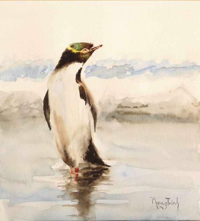 Yellow Eye Penguin - Phong Trinh Watercolor