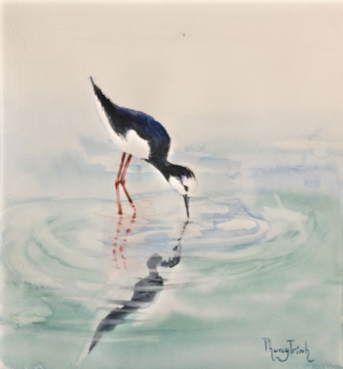 BLACK NECKED STILT - Phong Trinh Watercolor