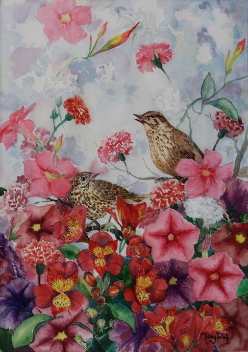 COTTAGE GARDEN WITH SONG THRUSH - Phong Trinh Watercolor
