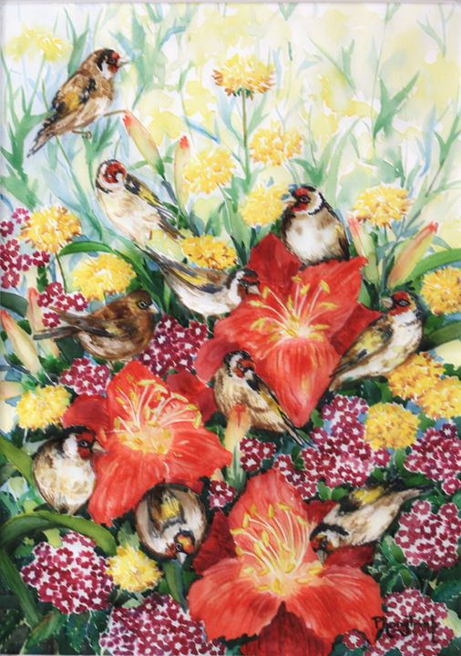 GOLDFINCH IN COTTAGE GARDEN - Phong Trinh Watercolor