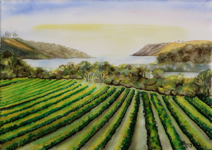VINEYARD BY THE SEA,NZ - Phong Trinh Watercolor