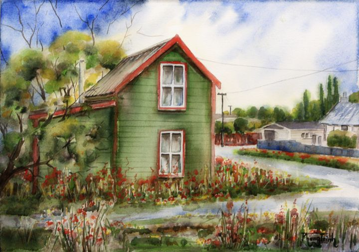 RURAL COTTAGE (2),NZ - Phong Trinh Watercolor