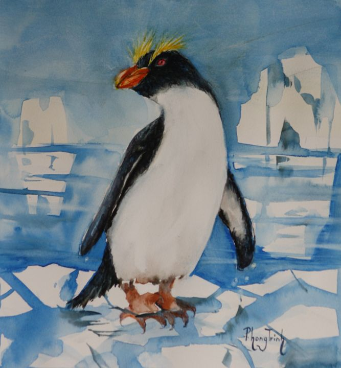 Erect-Crested Penguin - Phong Trinh Watercolor