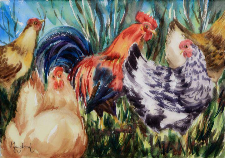 Chicken Yard - Phong Trinh Watercolor