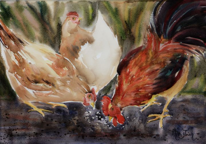 Cluck Cluck Cluck! - Phong Trinh Watercolor