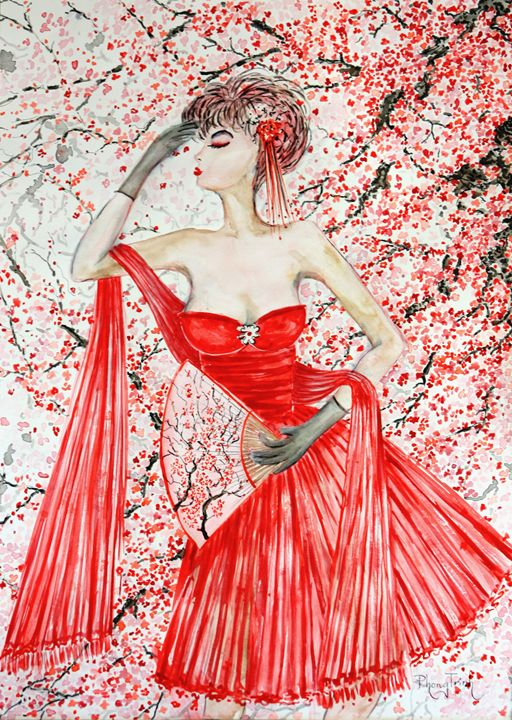 RED BLOSSOM FOREVER - Phong Trinh Watercolor