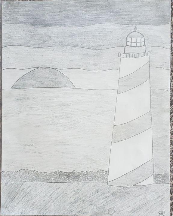 Lighthouse on seashore with sunset - The Corner Stone