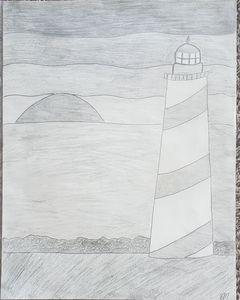 Lighthouse on seashore with sunset