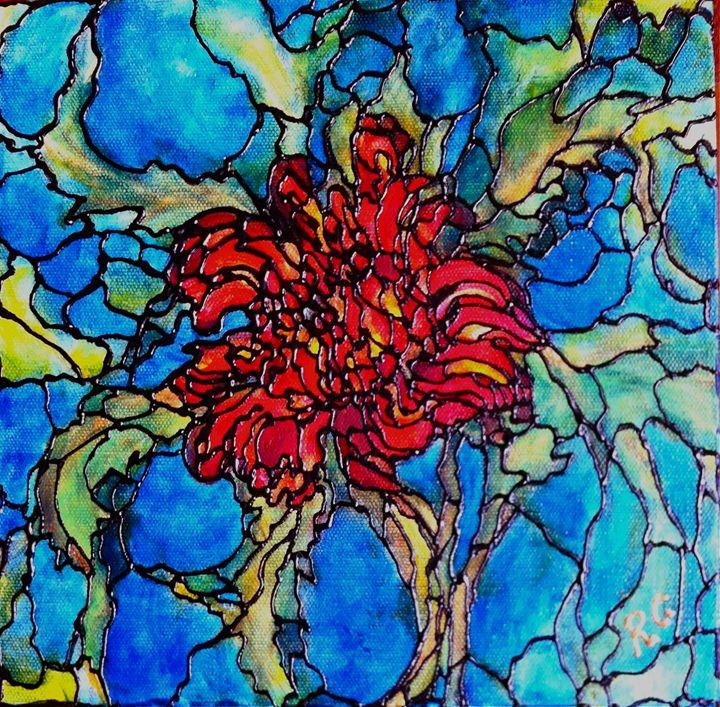Red Chrysanthemum - Art by Rae Chichilnitsky