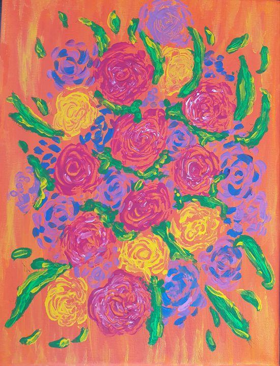 Textured roses - Andra Larisa Abstract Art