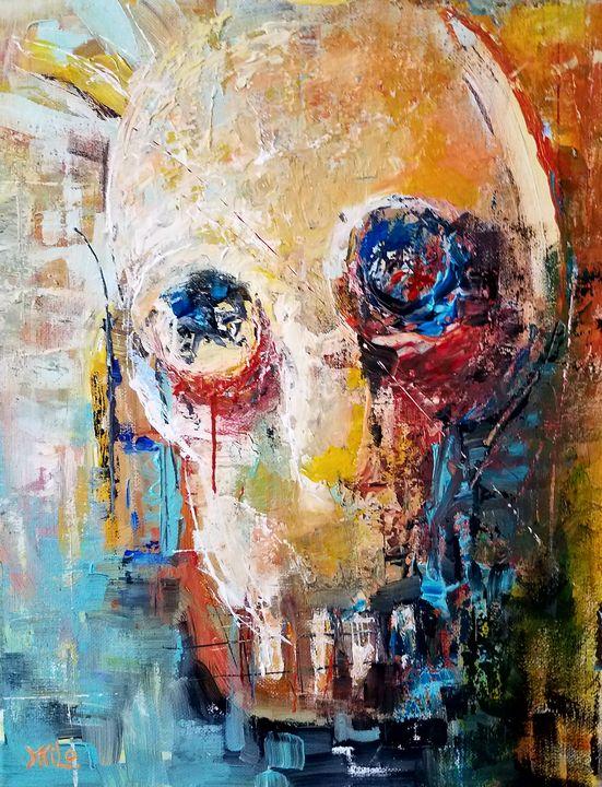 COLORFUL SKULL acylic on canvas - Milo Fine Art
