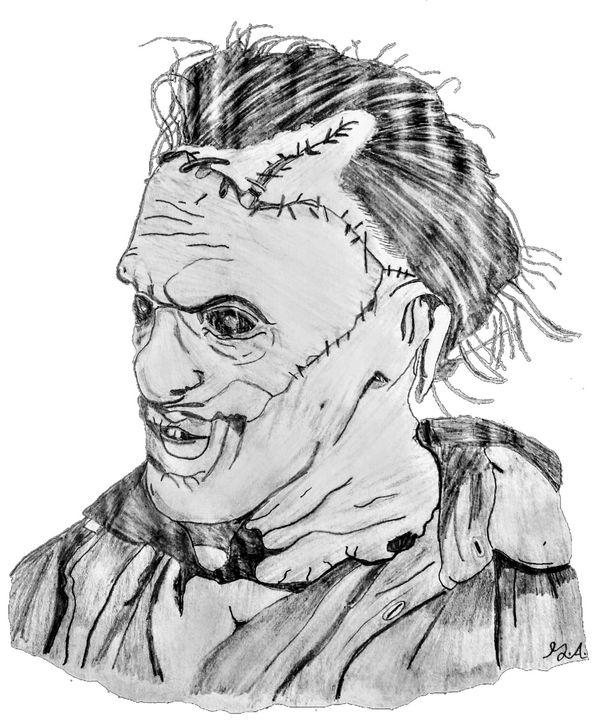 Leatherface Grims Pencil Art Drawings Illustration