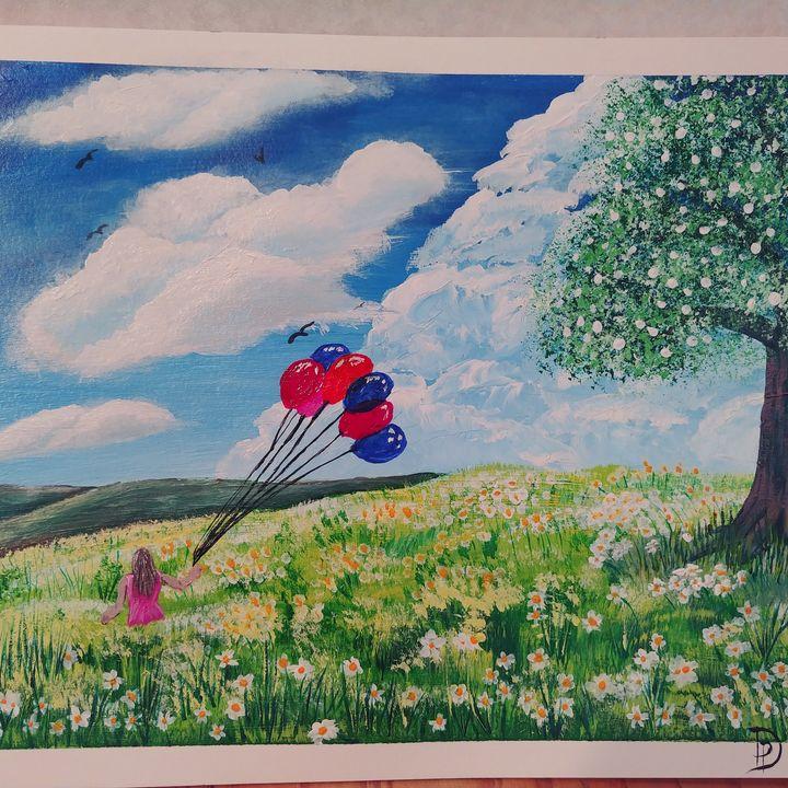 Balloons in Spring - Pat's Art  Corner