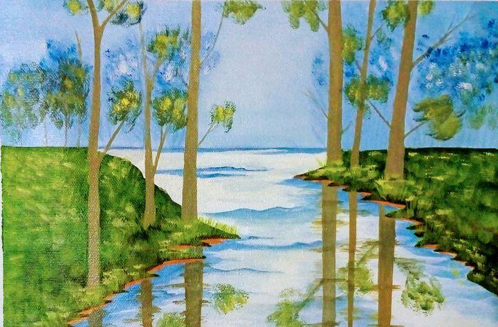 Blue sky behind the trees - Smruti Artworks