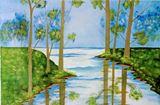 fresh acrylic painting on canvas