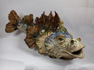 Stoneware fish sculpture