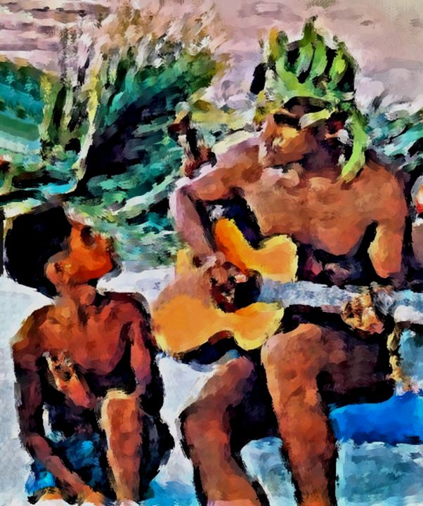 Island Guitar - Prints by Michel