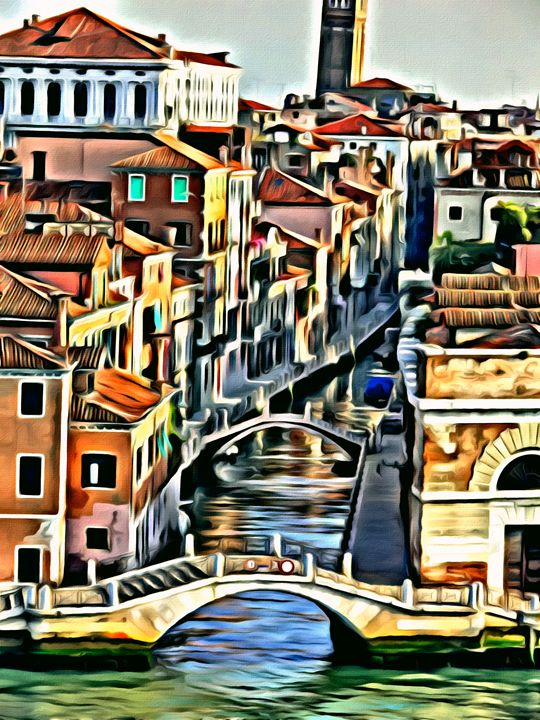 Elegant Venice Scene - Prints by Michel