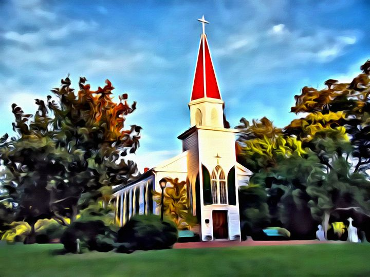 Rustic Virginia Countryside Church - Prints by Michel