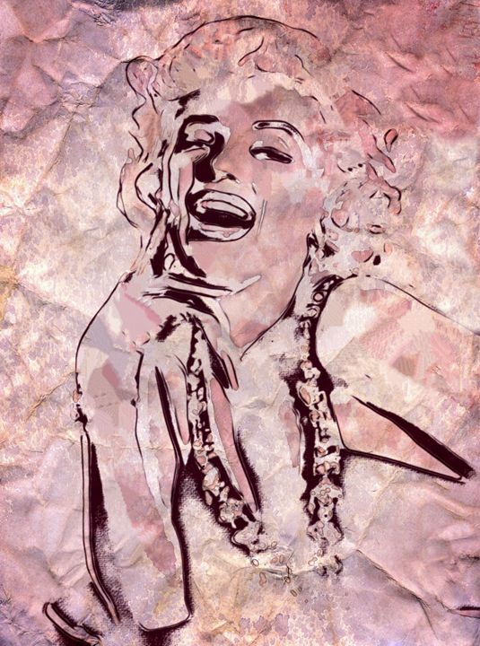 Marilyn Monroe Etched In Marble - Prints by Michel
