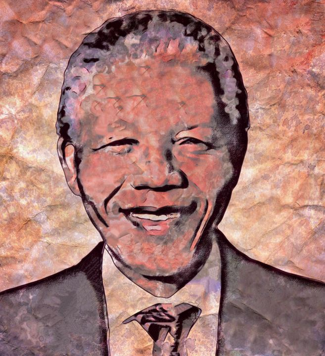 """Mandela Etched in Marble"" - Prints by Michel"