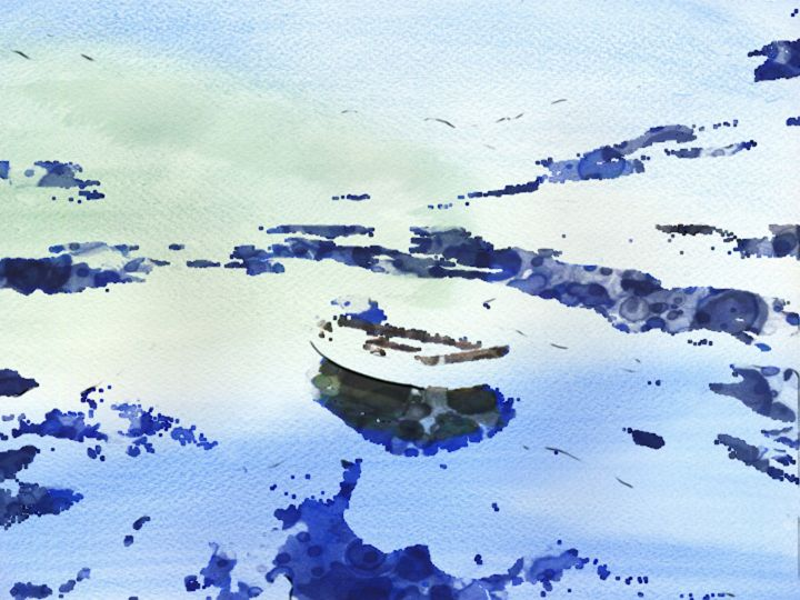 Boat in Lonely Waters - Prints by Michel