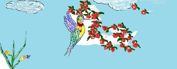Hummingbrid pollinator - The Art of Painting