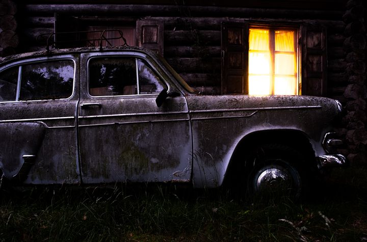 The old car and the yellow box - muskevich