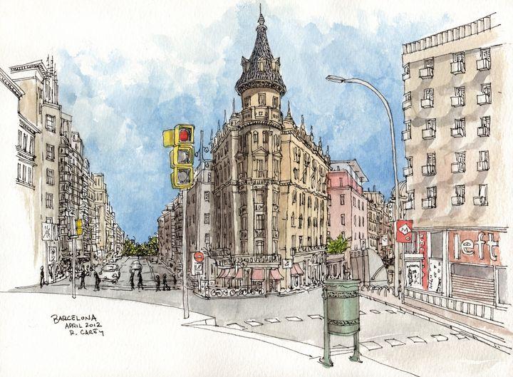 Barcelona Watercolor Sketch - Rob Carey Art