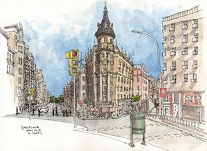 Barcelona Watercolor Sketch - Rob Carey Art