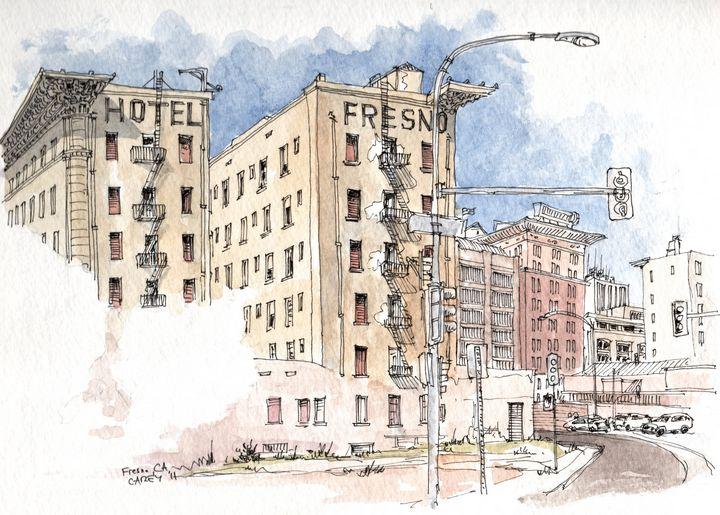 Hotel Fresno Urban Sketch - Rob Carey Art