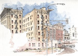Hotel Fresno Urban Sketch - Rob Carey Art
