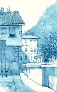 Italy Sketch in Blue - Rob Carey Art